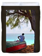 Waiting For Her Ship To Come In Duvet Cover by Li Newton