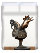 Wakeup Call Rooster Image 2 Bronze Sculpture With Beak Feathers Tail Brass And Opaque Surface  Duvet Cover