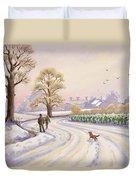 Walk In The Snow Duvet Cover by Lavinia Hamer
