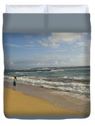 Walking In The Water At  Anahola Beach Duvet Cover