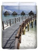Walkway To Holiday Huts Over Lagoon Duvet Cover