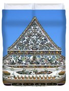 Wat Ratcha Orasaram Temple Gate And Ubosot Gable Dthb858 Duvet Cover