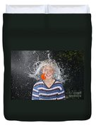 Water Balloon Popped Above Boys Head Duvet Cover