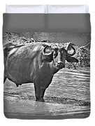 Water Buffalo In Black And White Duvet Cover