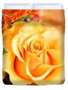 Water Color Yellow Rose With Orange Flower Accents Duvet Cover