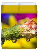 Water Drops On A Budding Flower Duvet Cover