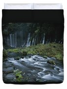 Water Falling And Flowing Over Rocks Duvet Cover
