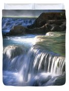 Water Flowes Over Travertine Formations Duvet Cover