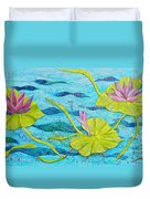 Water Lilies Panorama Duvet Cover