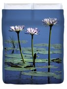 Water Lily Flowers Bloom From A Wetland Duvet Cover