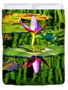Water Lily Pond Garden Impressionistic Monet Style Duvet Cover