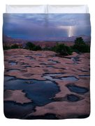 Water Puddled In The Esplanade, A Rock Duvet Cover