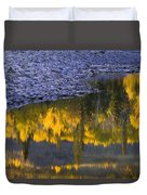 Water Reflections With A Rocky Shoreline Duvet Cover