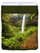 Waterfall Along The Trail Duvet Cover
