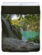 Waterfall At Plitvice National Park In Duvet Cover