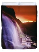 Waterfall At Sunset, Bugaboo Glacier Duvet Cover