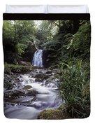Waterfall In A Forest, Glenoe Duvet Cover