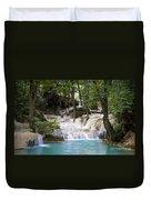 Waterfall In Deep Forest Duvet Cover by Setsiri Silapasuwanchai