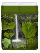 Waterfall In Lowland Tropical Rainforest Duvet Cover