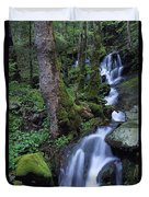 Waterfall Pouring Down Mountainside Duvet Cover