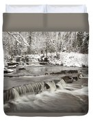Waterfall With Fresh Snow Thunder Bay Duvet Cover by Susan Dykstra