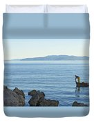 Waterfront Of Opatija Showing Statue Duvet Cover