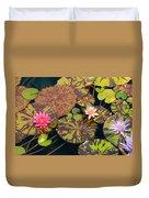 Waterlilies In A Garden Pool Duvet Cover