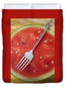 Watermelon And Fork Duvet Cover