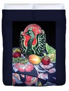 Watermelon Swan Duvet Cover by Sally Weigand