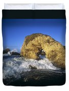 Wave Splashing Against Natural Arch Duvet Cover