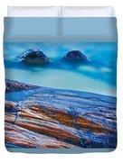 Waves Crashing On Rocky Shoreline Duvet Cover
