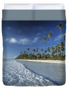 Waves Lapping Shore Of Beach With Palm Duvet Cover