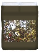 Wax Wing In A Berry Tree  Duvet Cover