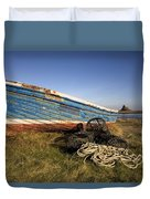 Weathered Fishing Boat On Shore, Holy Duvet Cover