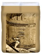 Weathered Wooden Bucket In Sepia Duvet Cover