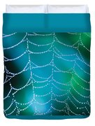 Web With Dew Droplets Duvet Cover