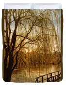 Weeping Willow And Bridge Duvet Cover