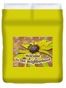 Welcome New Neighbor Card - Bee And Black-eyed Susan Duvet Cover