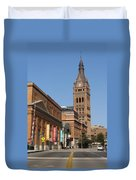 Wells Street Theater District And City Hall Duvet Cover