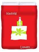 Welsh Merry Christmas Red Duvet Cover