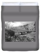 West Cornwall Connecticut Covered Bridge Black And White Duvet Cover