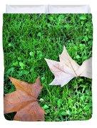 Wet Leaves On Grass Duvet Cover