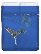 Whale Shark Tail Near Surface With Sun Duvet Cover
