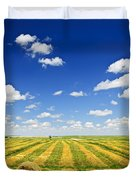 Wheat Farm Field At Harvest Duvet Cover
