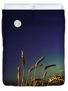 Wheat Field At Night Under The Moon Duvet Cover