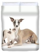 Whippet And Siamese Kitten Duvet Cover