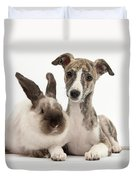 Whippet Pup With Colorpoint Rabbit Duvet Cover