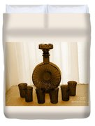 Whiskey Decanter In Sepia Duvet Cover