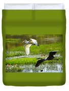 White And Grey Herons In Flight Duvet Cover