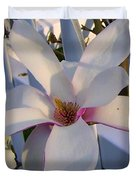 White And Pink Magnolia Duvet Cover